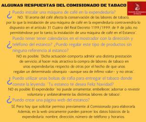Respuesta del Comisionado a los estancos sobre máquinas de café, calendarios, bolsas de rafia o página web